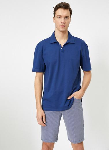 Koton Polo Yaka Oversize Fit Pike Kumas T-Shirt Lacivert